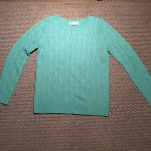 Mint green cable knit sweater